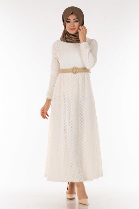 Beyaz Dantelli Kemerli Tesettür Elbise