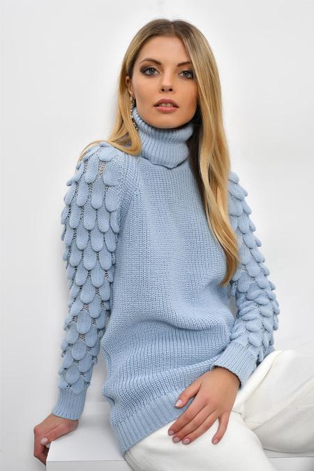 Cool & Sexy Mavi Kol Detaylı Balıkçı Kazak