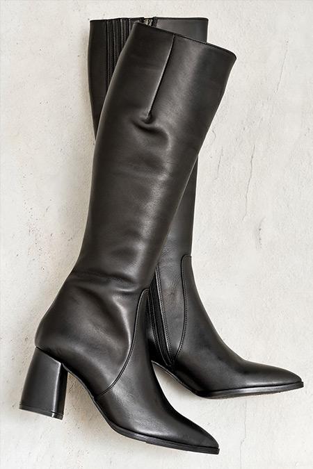 Elle Siyah Taulla Hakiki Deri Kadın Çizme