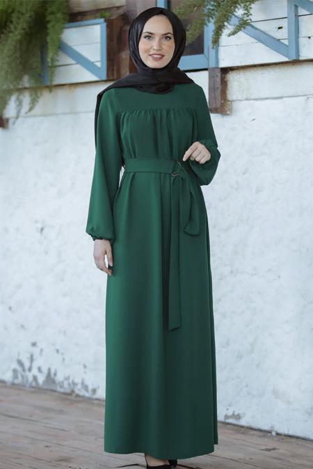 Emsale Zümrüt Yeşili Şenay Elbise