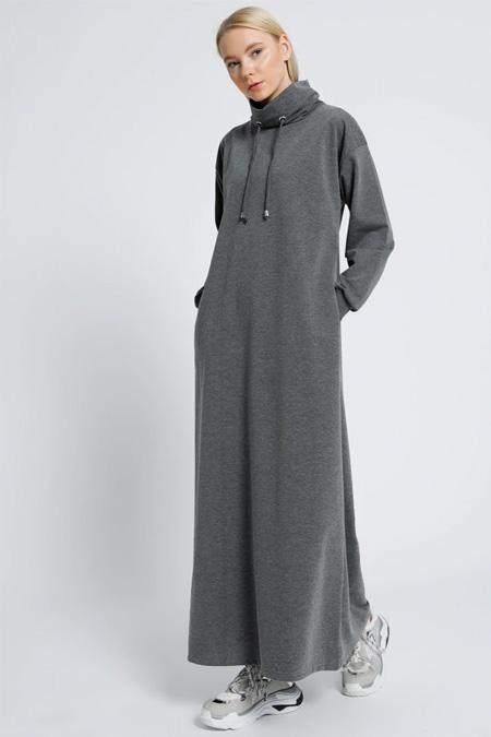 Everyday Basic Antrasit Boğazlı Yaka Cepli Elbise