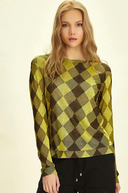 Five Fiction Kahverengi Sarı Bluz