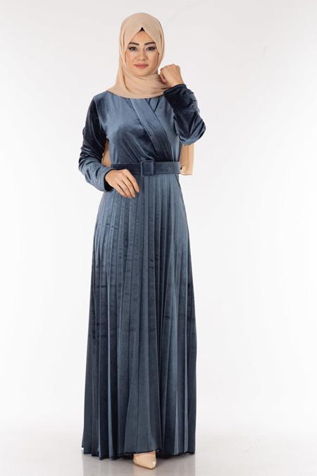 Gri Piliseli Kadife Tesettür Elbise