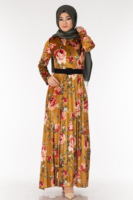 Kadife Çiçek Desen Tesettür Elbise