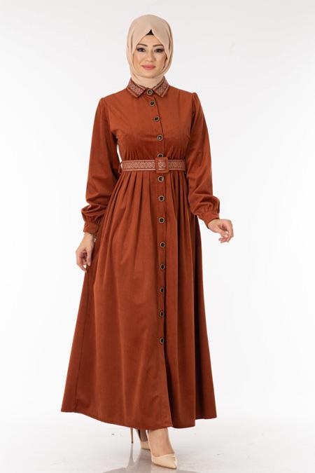 Kiremit Düğmeli Kadife Tesettür Elbise