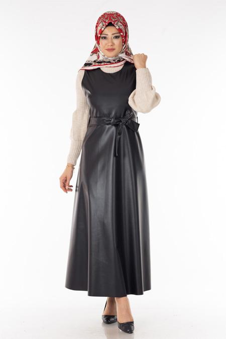 Kuşaklı Deri Salopet Elbise