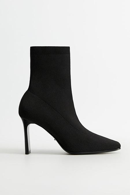 Mango Siyah Topuklu Çorap Bot