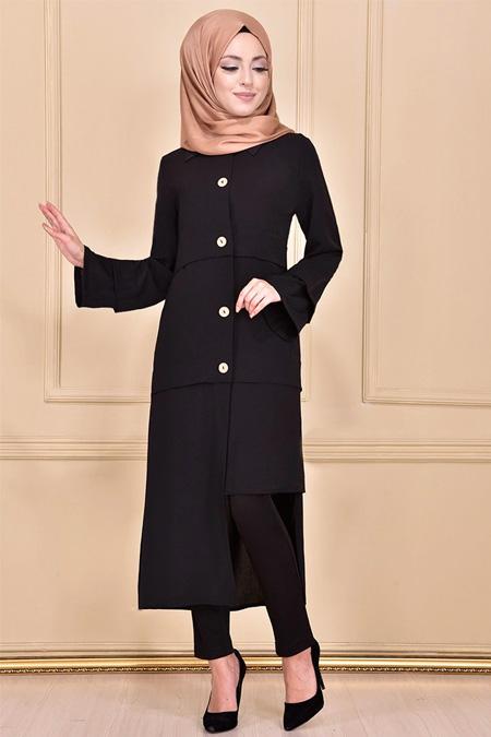 Modamerve Siyah Boydan Düğmeli Tunik