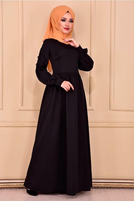 Modamerve Siyah Çapraz İp Detaylı Elbise