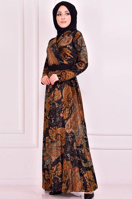 Modamerve Siyah Kadife Elbise