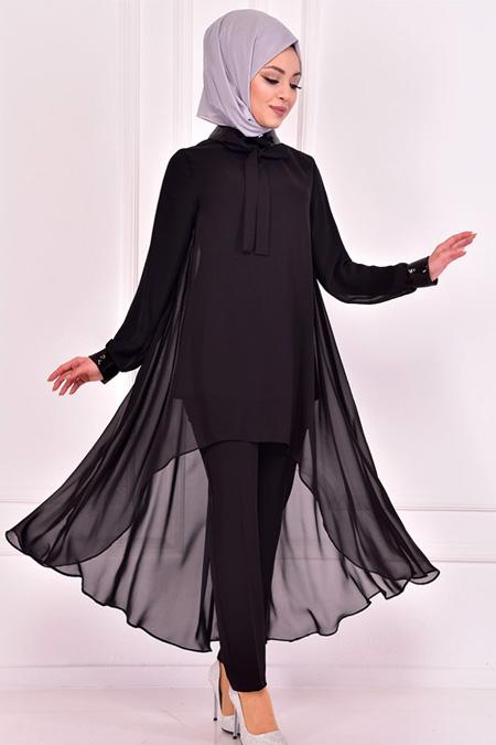 Modamerve Siyah Şifon Kombin