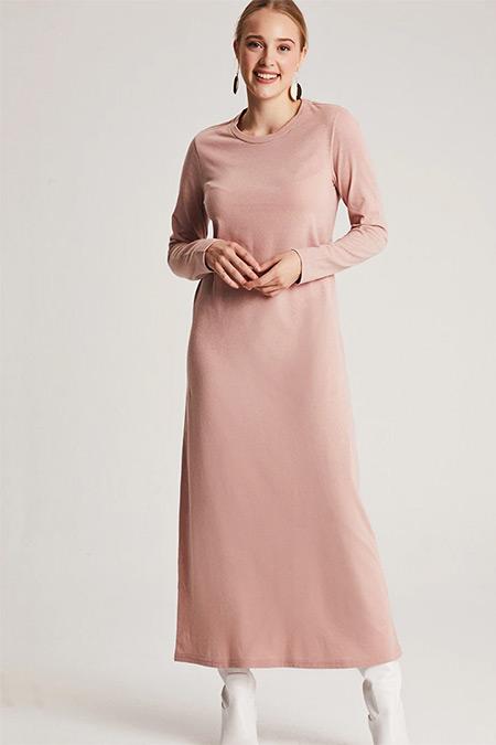 Muni Muni Pudra Doğal Kumaşlı Basic Elbise