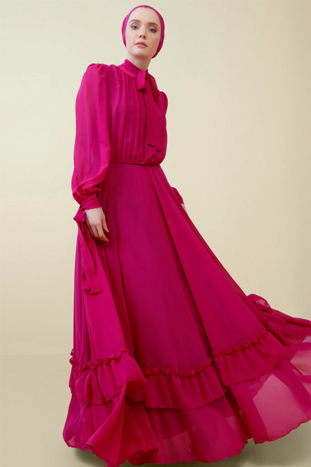 Nihan Peker Vişne Volan Detaylı Şifon Abiye Elbise