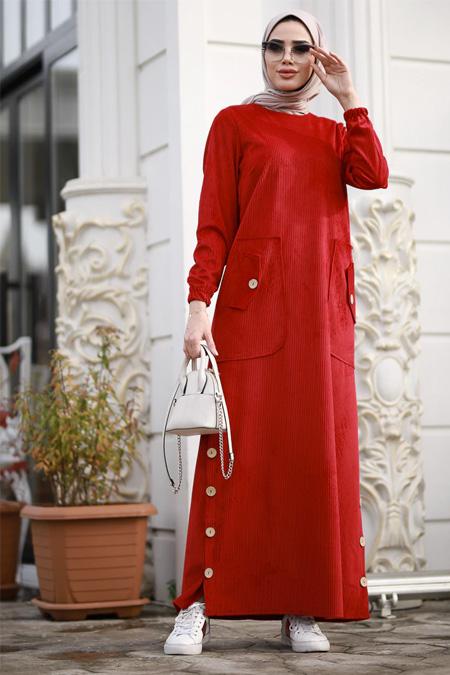 Piennar Kırmızı Rengi Kadife Elbise