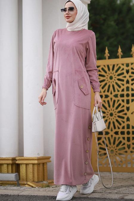 Piennar Pudra Rengi Kadife Elbise