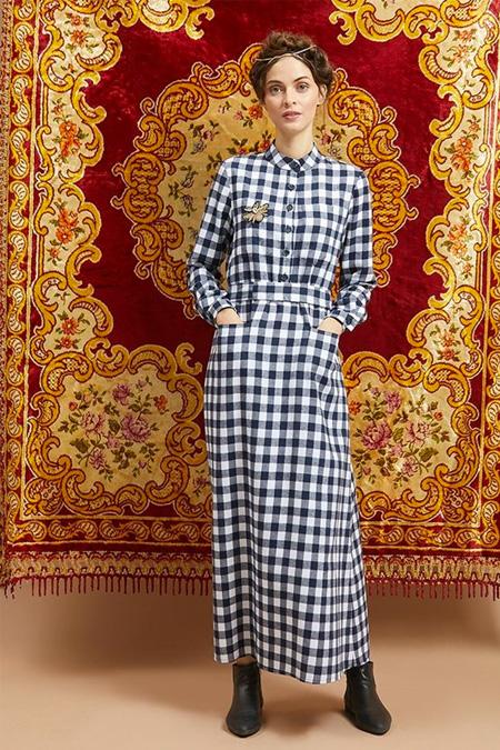 Qras Mavi Kareli Elbise