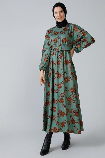 Refka Yeşil Fitilli Kadife Kemerli Elbise