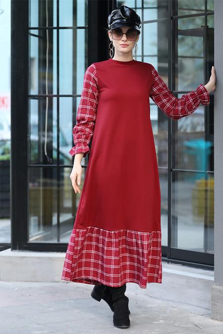 Selma Sarı Design Bordo Ekose Garnili Elbise