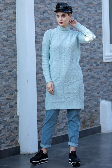 Selma Sarı Design Buz Mavisi Boğazlı Uzun Triko Tunik