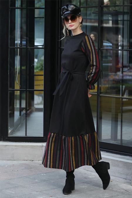 Selma Sarı Design Çok Renkli Ekose Garnili Elbise