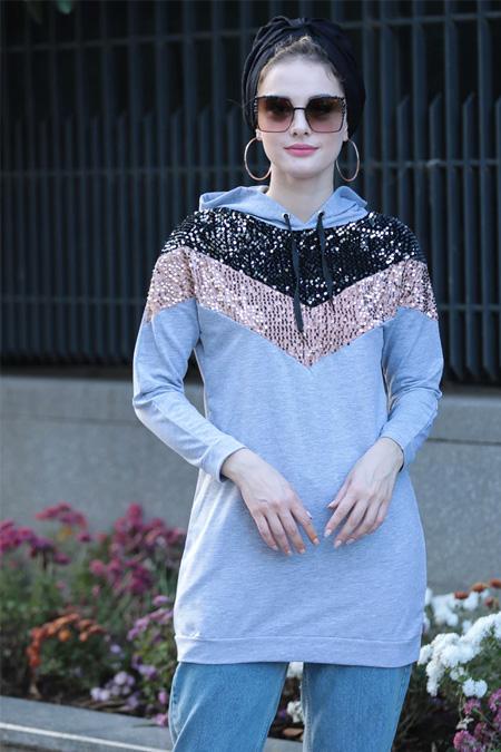 Selma Sarı Design Gri Kadife Pul Detaylı Sweat Tunik