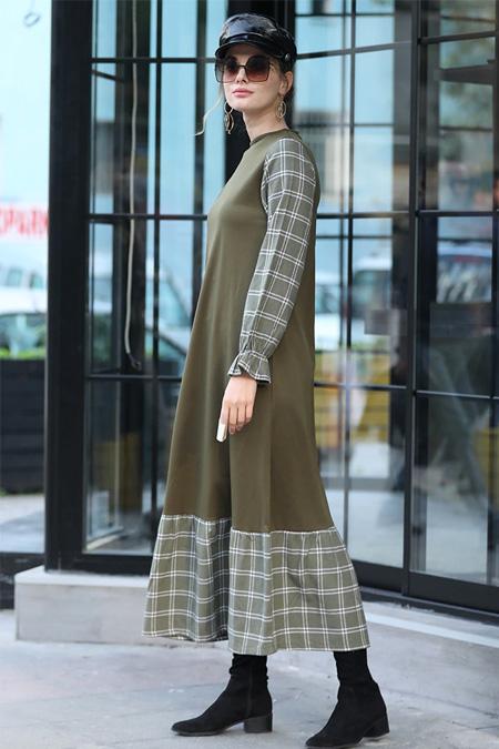 Selma Sarı Design Haki Ekose Garnili Elbise