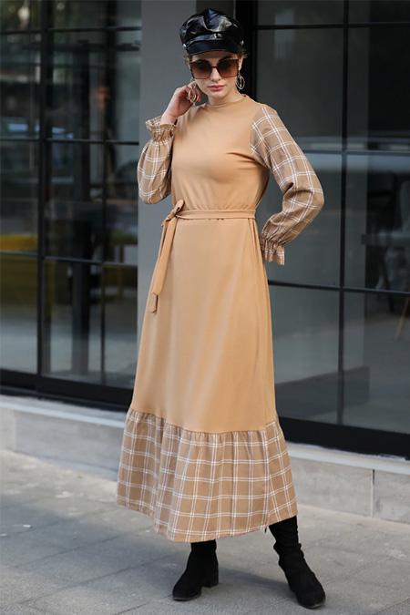 Selma Sarı Design Hardal Ekose Garnili Elbise
