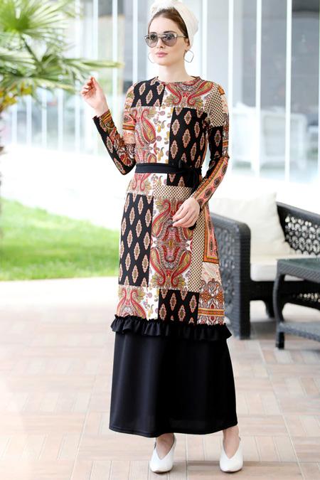 Selma Sarı Design Karışık Renkli Fırfır Detaylı Rahat Elbise