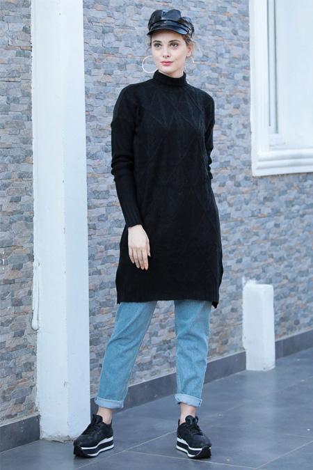 Selma Sarı Design Siyah Boğazlı Uzun Triko Tunik