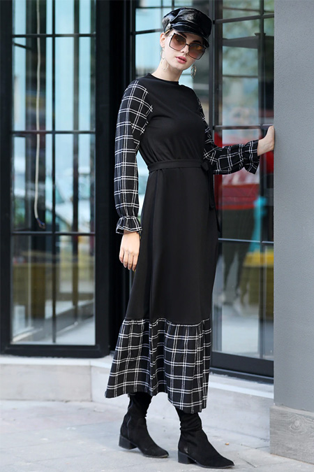 Selma Sarı Design Siyah Ekose Garnili Elbise