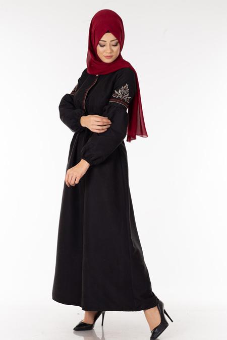 Siyah Nakışlı Süet Tesettür Elbise