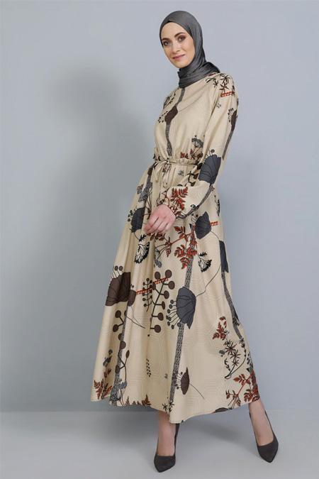 Tavin Bej Beli Lastikli Desenli Elbise