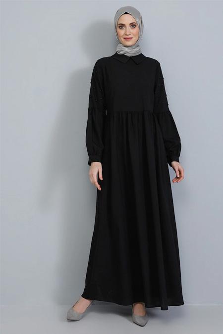 Tavin Siyah Kolları İnci Detaylı Elbise