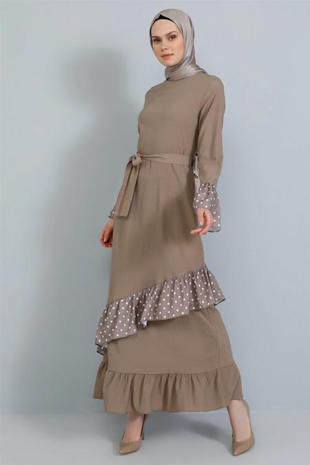Tavin Vizon Volan Detaylı Elbise