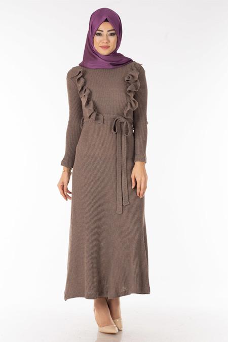 Vizon Göğsü Fırfırlı Tesettür Elbise
