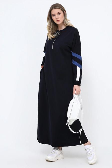 Alia Lacivert Doğal Kumaşlı Spor Elbise