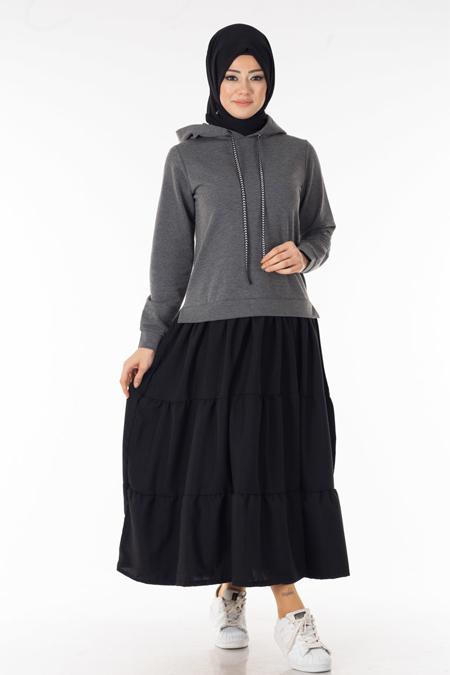 Antrasit Takım Görünümlü Tesettür Elbise