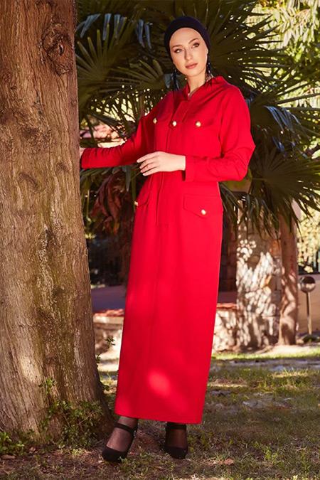 Ayşen Özen Kırmızı Düğme Süslü Elbise