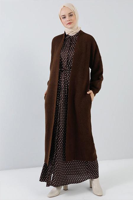 Benin Kahverengi Uzun Triko Hırka