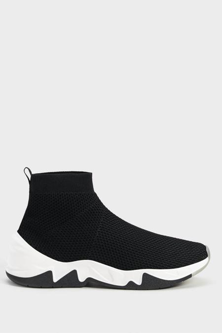 Bershka Siyah Çorap Model Yüksek Bilekli Spor Ayakkabı