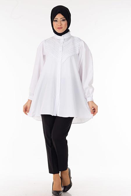 Beyaz Dantel Detaylı Gömlek