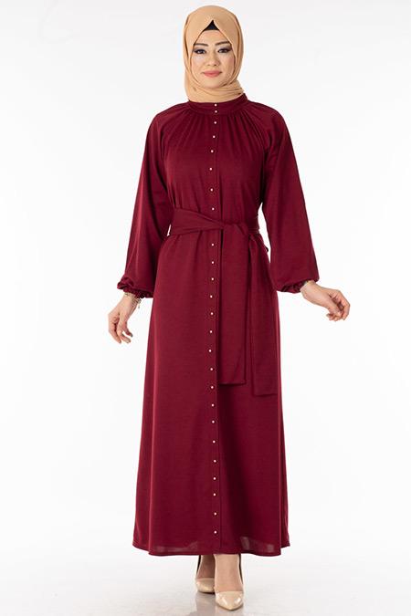 Bordo İnci Detaylı Tesettür Elbise