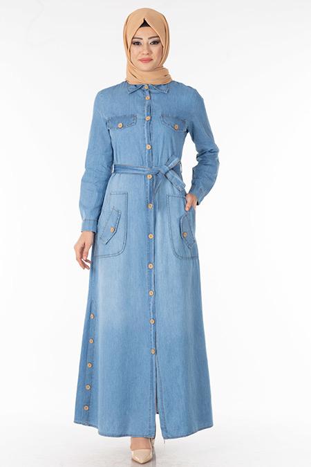 Buz Mavisi Düğmeli Yakalı Kot Elbise