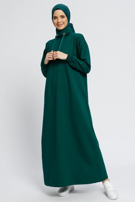 Everyday Basic Koyu Yeşil Boğazlı Yaka Cepli Elbise