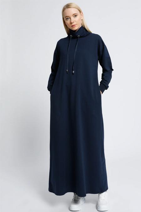 Everyday Basic Lacivert Boğazlı Yaka Cepli Elbise