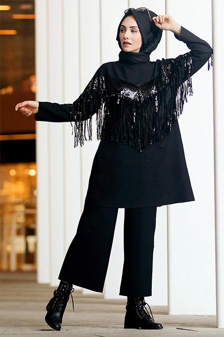 Gamze Özkul Siyah Tunik Pantolon Takım