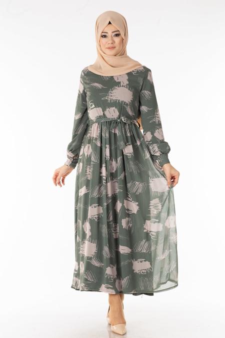 Haki Desenli Şifon Tesettür Elbise