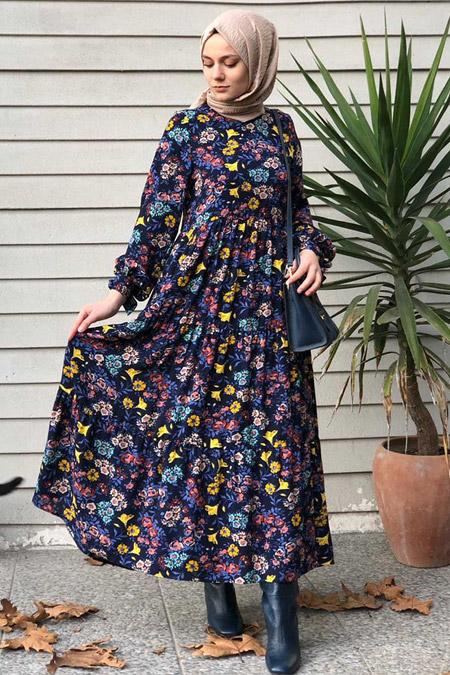 Kübra Biriktir Lacivert Burcu Elbise