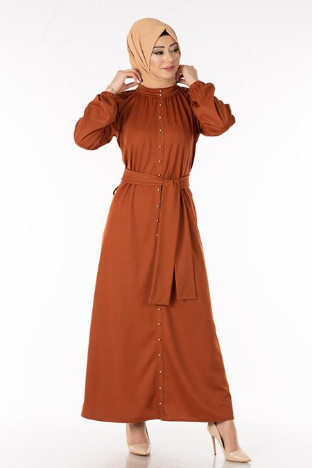 Kiremit İnci Detaylı Tesettür Elbise