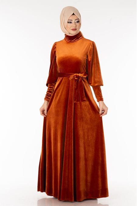 Kiremit Boğazlı Kadife Tesettür Elbise
